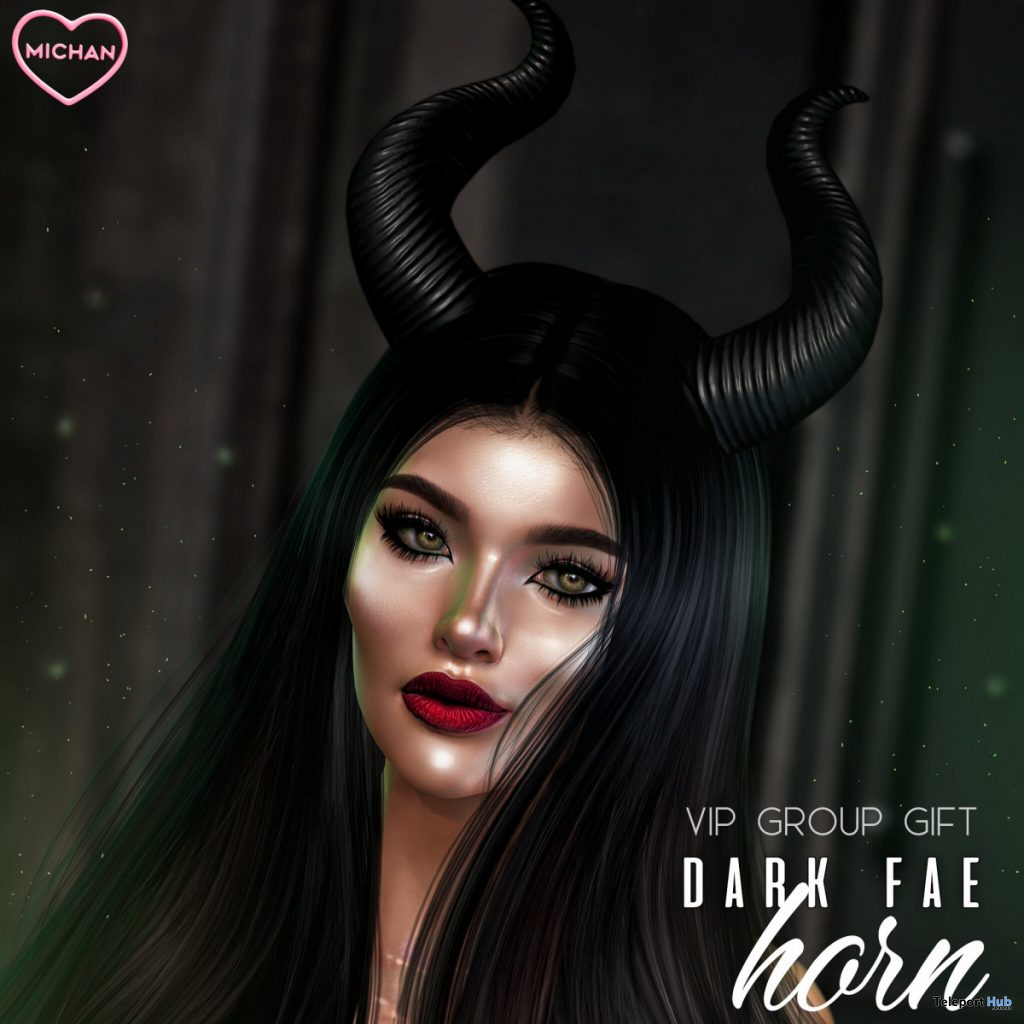 Dark Fae Horn October 2019 Group Gift by MICHAN - Teleport Hub - teleporthub.com