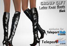Latex Knee Boots Black Teleport Hub Group Gift by Velvets Dreams- Teleport Hub - teleporthub.com