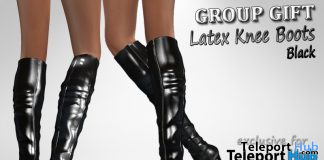 Latex Knee Boots Black Teleport Hub Group Gift by Velvets Dreams - Teleport Hub - teleporthub.com