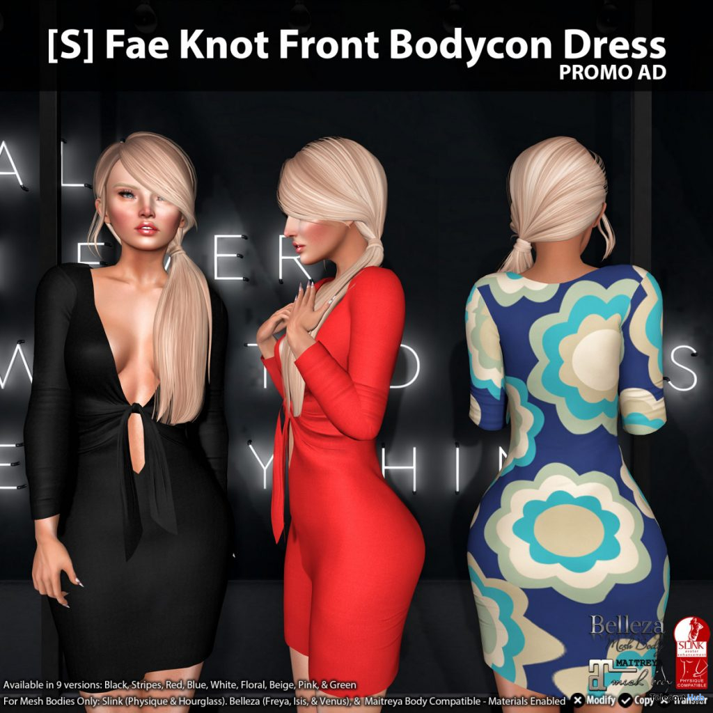 New Release: [S] Fae Knot Front Bodycon Dress by [satus Inc] - Teleport Hub - teleporthub.com