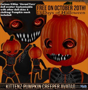 Kittenz Pumpkin Creeper Avatar Halloween 2019 Gift by Curious Kitties Shop - Teleport Hub - teleporthub.com