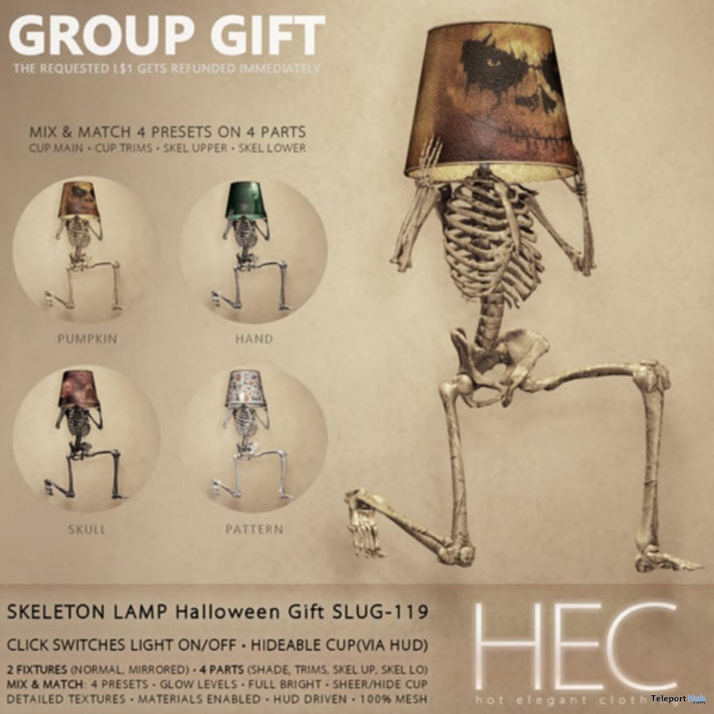 Skeleton Lamp Pack Halloween 2019 Group Gift by HEC - Teleport Hub - teleporthub.com