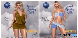 Tulip Top & Skirt And Drape Dress Grand Opening October 2019 Gift by FORTUNE Style- Teleport Hub - teleporthub.com