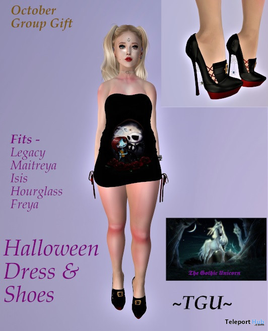 Halloween Dress & Shoes October 2019 Group Gift by The Gothic Unicorn - Teleport Hub - teleporthub.com
