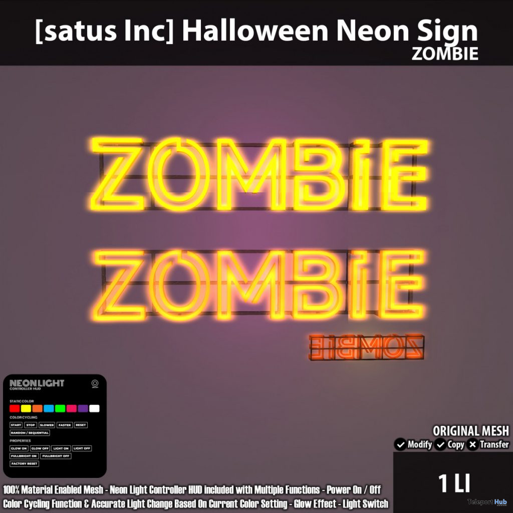 New Release: Halloween Neon Sign by [satus Inc] - Teleport Hub - teleporthub.com