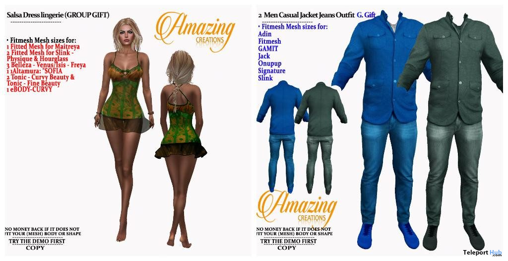 Salsa Dress & Men Casual Jacket Jeans Outfit October 2019 Group Gift by AmAzIng CrEaTiOnS - Teleport Hub - teleporthub.com