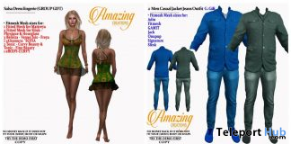 Salsa Dress & Men Casual Jacket Jeans Outfit October 2019 Group Gift by AmAzIng CrEaTiOnS- Teleport Hub - teleporthub.com