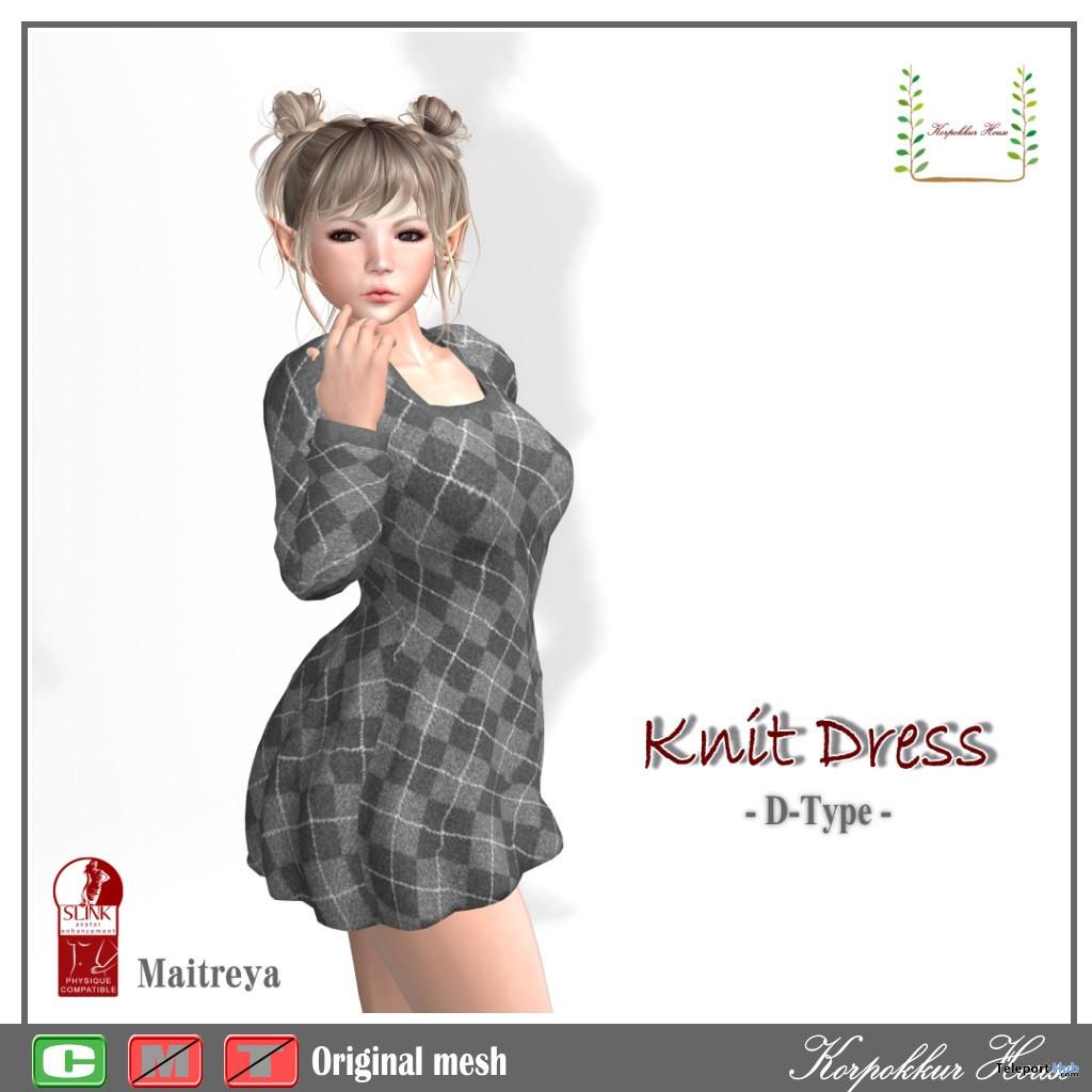 Knit Dress Argyle Pattern November 2019 Group Gift by Korpokkur House - Teleport Hub - teleporthub.com