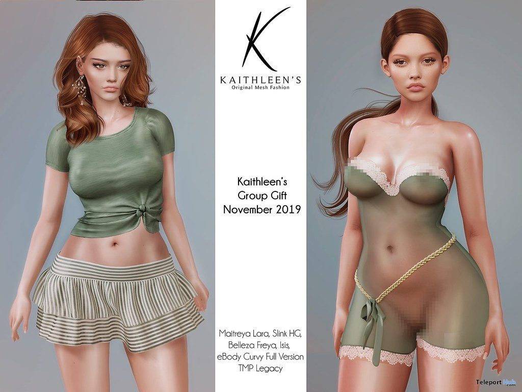 Veronika Outfit & Sheer Silk Romper November 2019 Group Gift by Kaithleen's - Teleport Hub - teleporthub.com