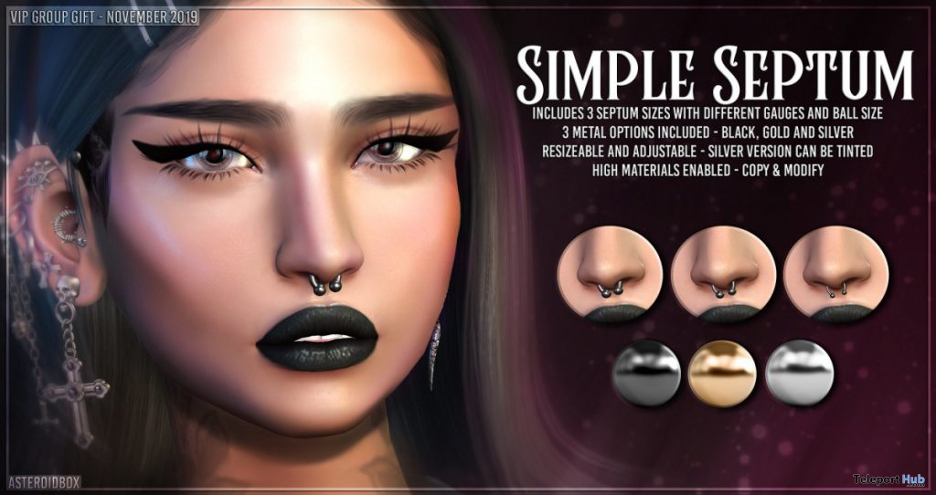 Simple Septum November 2019 Group Gift by AsteroidBox - Teleport Hub - teleporthub.com