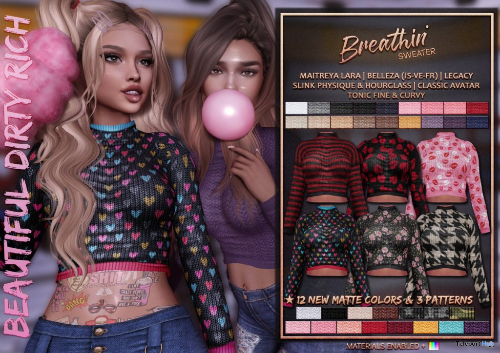 Breathin' Sweater Fatpack November 2019 Group Gift by Beautiful Dirty Rich - Teleport Hub - teleporthub.com