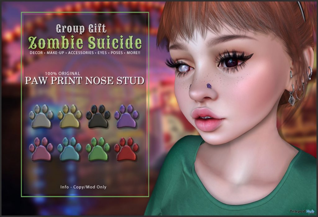 Paw Print Nose Stud November 2019 Group Gift by Zombie Suicide - Teleport Hub - teleporthub.com