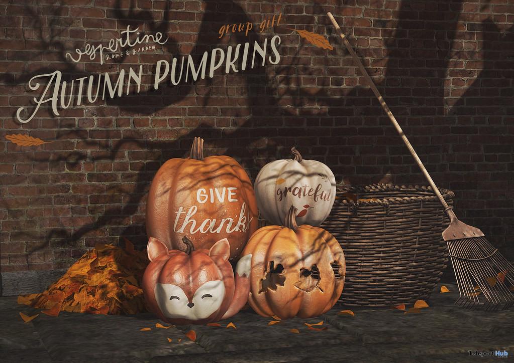 Autumnal Pumpkins November 2019 Group Gift by vespertine - Teleport Hub - teleporthub.com