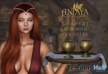 Tray With Gold Cups November 2019 Group Gift by ANTAYA - Teleport Hub - teleporthub.com