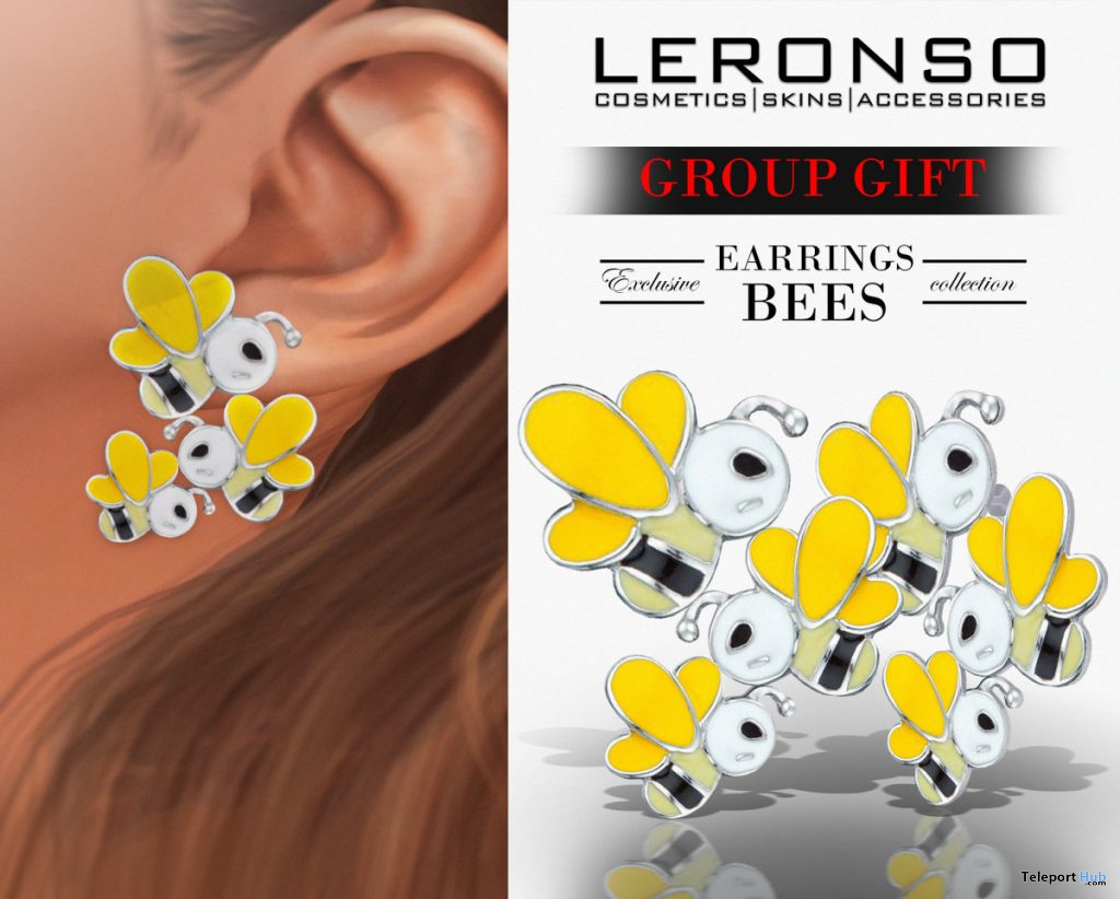 Bees Earrings November 2019 Group Gift by LERONSO skins - Teleport Hub - teleporthub.com