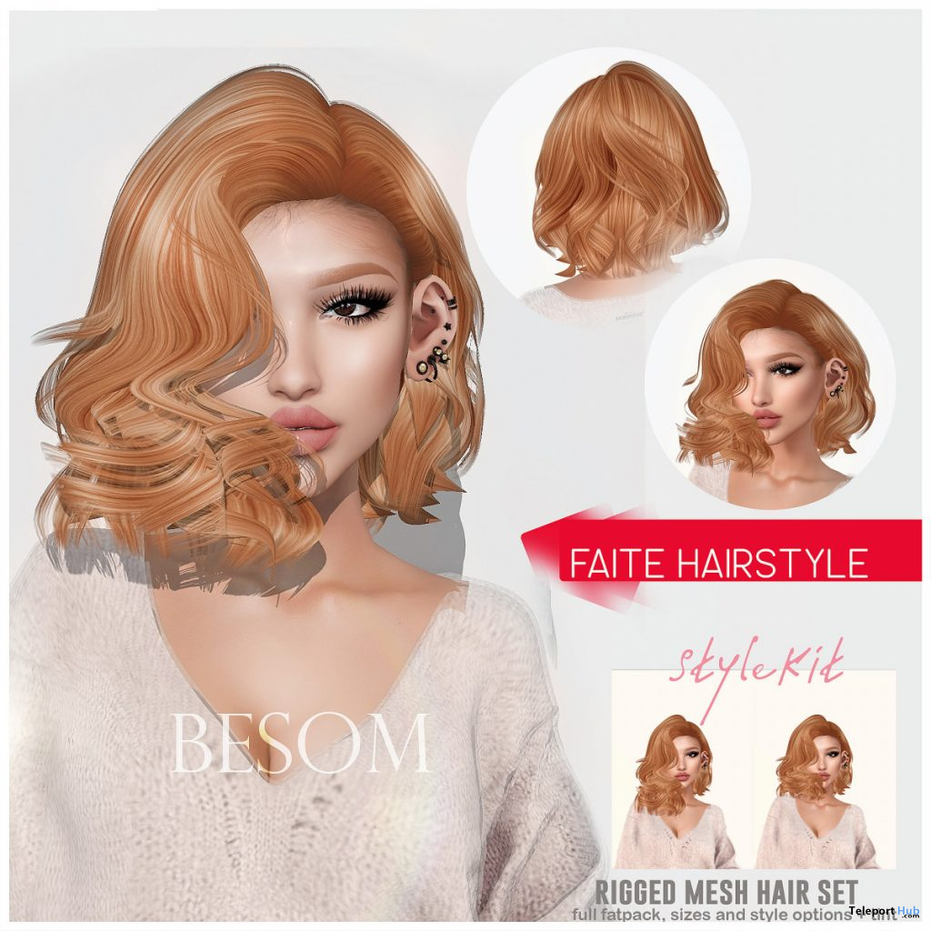 Faite Hair Fatpack With Style Options Group Gift by Besom - Teleport Hub - teleporthub.com