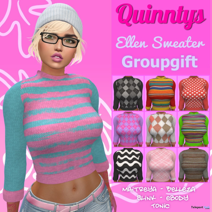 Ellen Sweater November 2019 Group Gift by Quinnty's - Teleport Hub - teleporthub.com