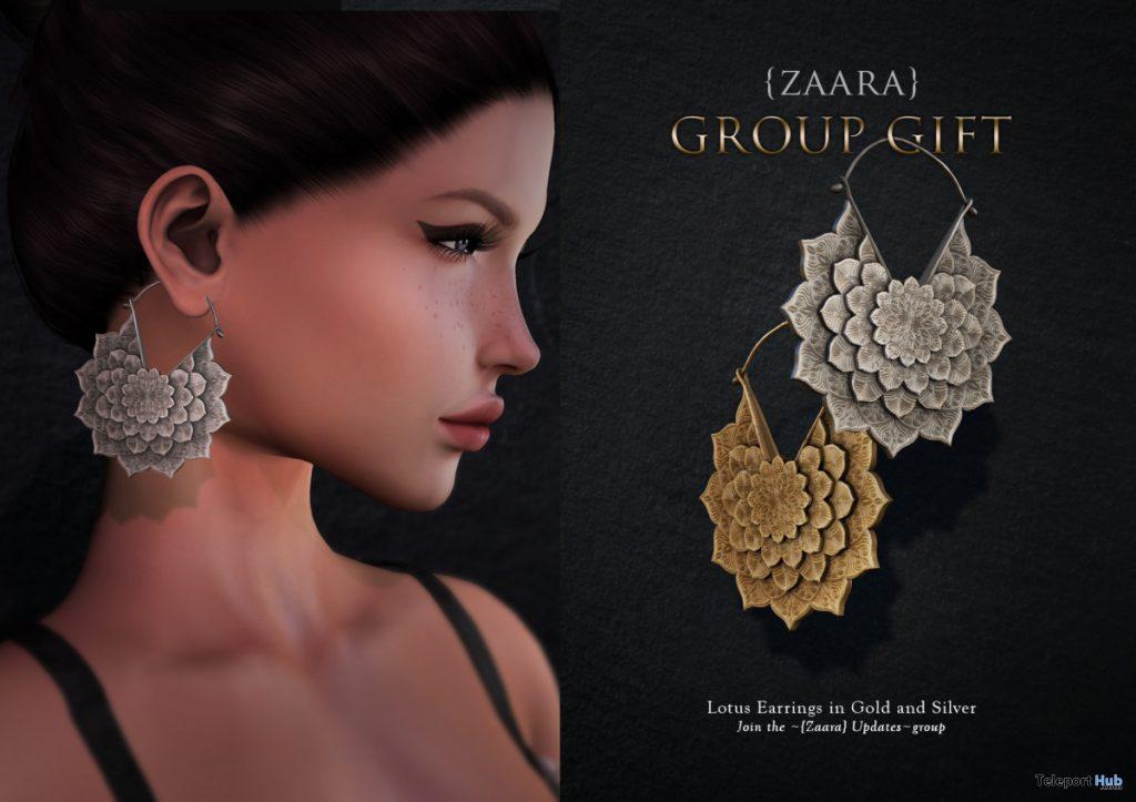 Lotus Earrings November 2019 Group Gift by {Zaara} - Teleport Hub - teleporthub.com