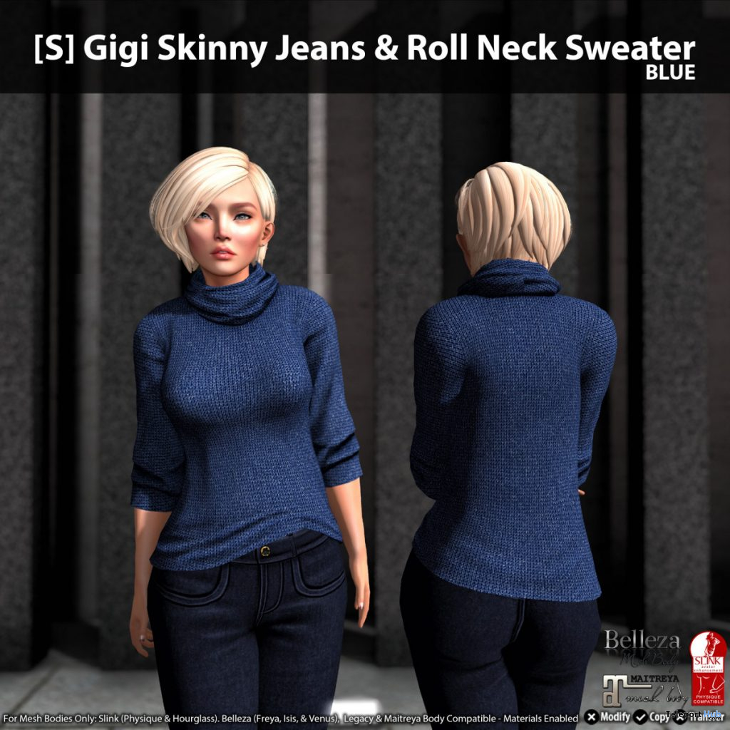 New Release: [S] Gigi Skinny Jeans & Roll Neck Sweater by [satus Inc] - Teleport Hub - teleporthub.com