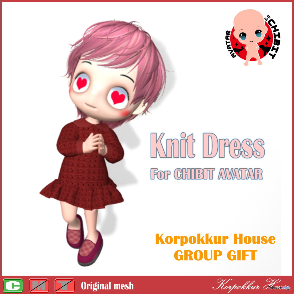 Knit Dress For CHIBIT Avatar December 2019 Group Gift by Korpokkur House - Teleport Hub - teleporthub.com