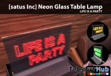 New Release: Neon Glass Table Lamp [Life Is A Party] by [satus Inc] - Teleport Hub - teleporthub.com