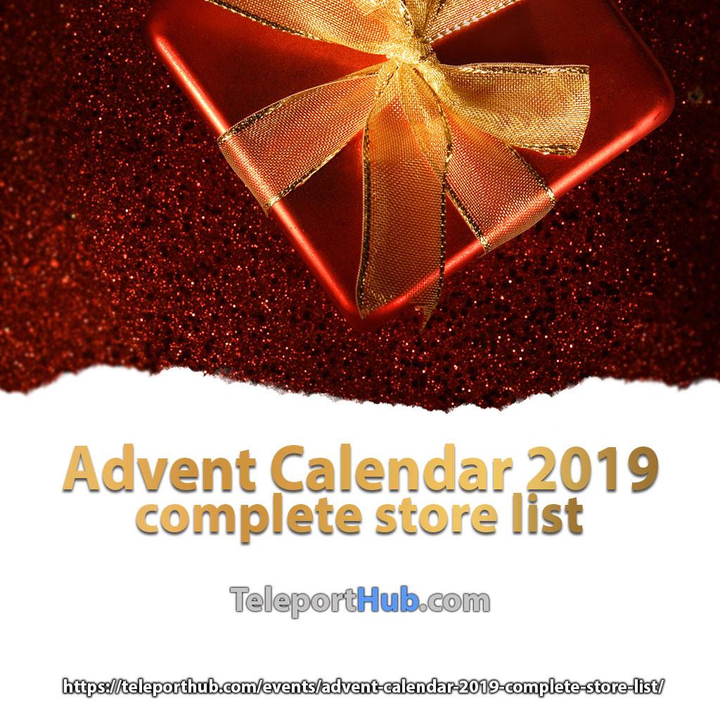 Advent Calendar 2019 Complete Store List - Teleport Hub - teleporthub.com