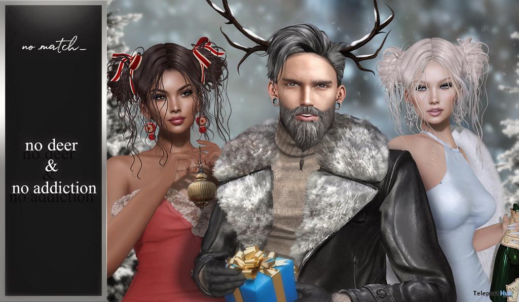 No Deer & No Addiction Hair Christmas 2019 Group Gift by No Match - Teleport Hub - teleporthub.com