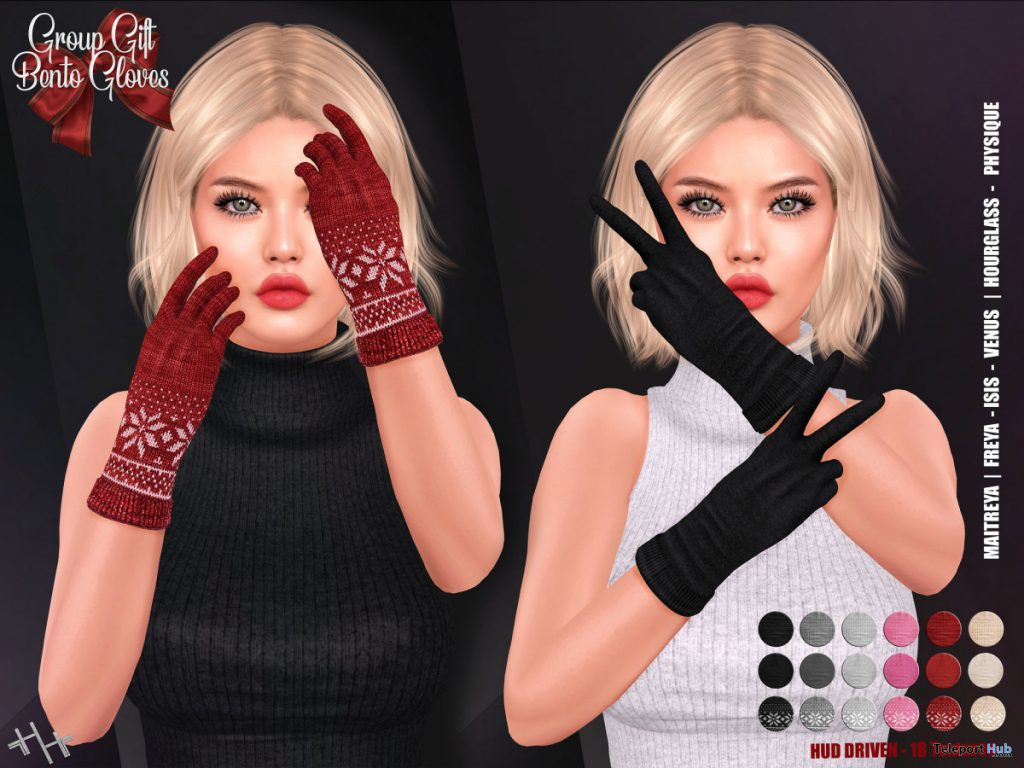 Bento Gloves Fatpack December 2019 Group Gift by Hilly Haalan - Teleport Hub - teleporthub.com