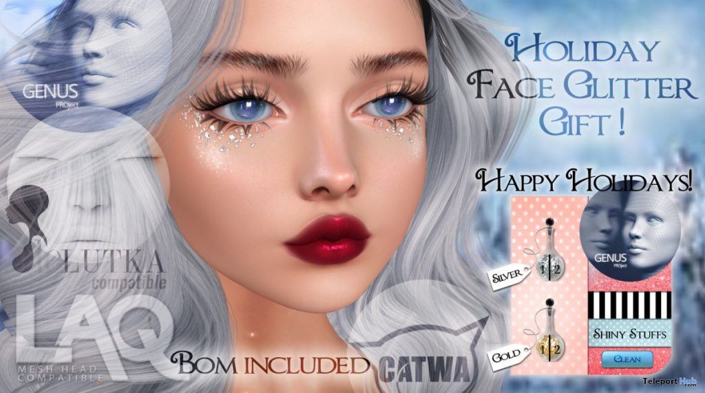 Holiday Face Glitter December 2019 Gift by Shiny Stuffs - Teleport Hub - teleporthub.com