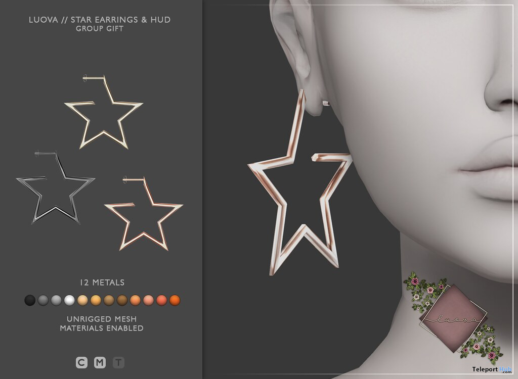 Star Earrings December 2019 Group Gift by Luova - Teleport Hub - teleporthub.com