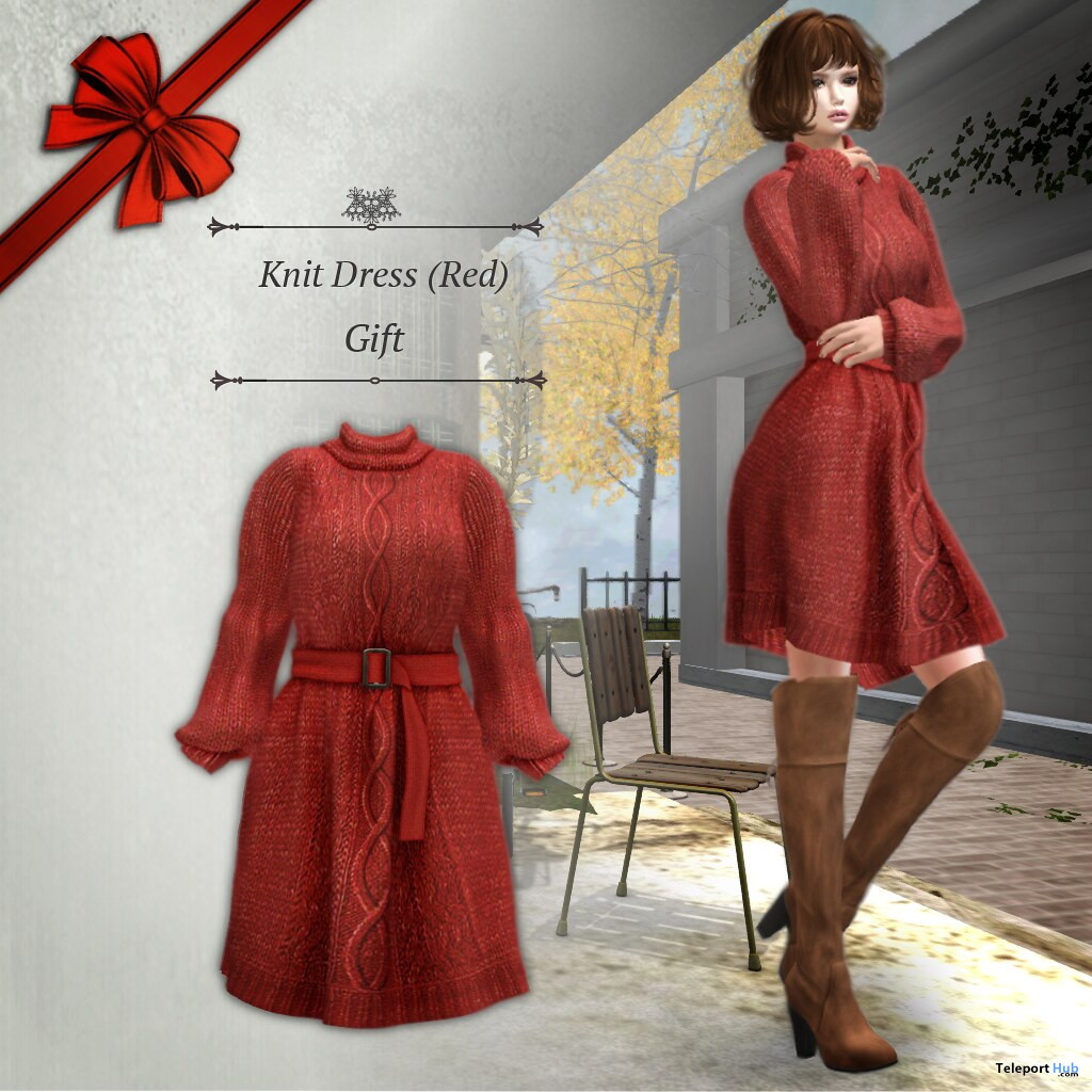 Knit Dress December 2019 Group Gift by S@BBiA - Teleport Hub - teleporthub.com