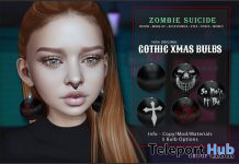 Gothic Xmas Bulbs Earrings December 2019 Group Gift by Zombie Suicide - Teleport Hub - teleporthub.com