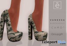 Vanessa Block Heels Camo January 2020 Group Gift by Ohemo - Teleport Hub - teleporthub.com