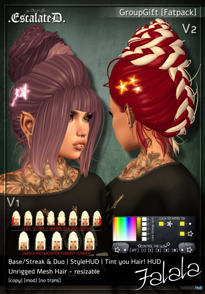 Falala Hair Fatpack Christmas 2019 Group Gift by EscalateD - Teleport Hub - teleporthub.com