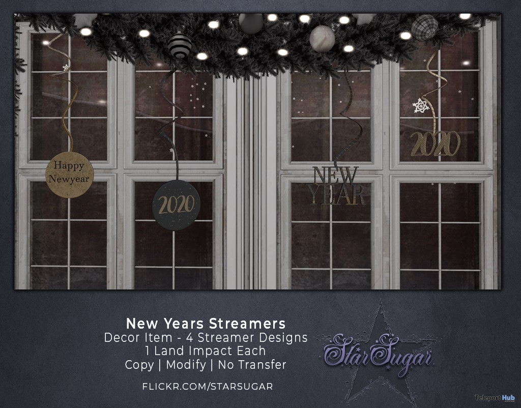 New Years Streamers Backdrop December 2019 Group Gift by Star Sugar - Teleport Hub - teleporthub.com