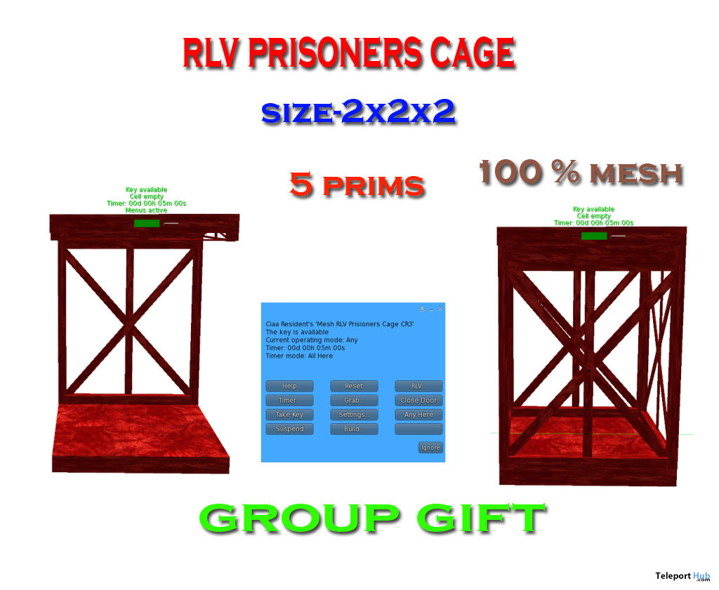 RLV Prisoners Cage December 2019 Group Gift by Carissa Designs - Teleport Hub - teleporthub.com