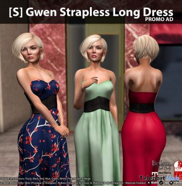 New Release: [S] Gwen Strapless Long Dress by [satus Inc] - Teleport Hub - teleporthub.com