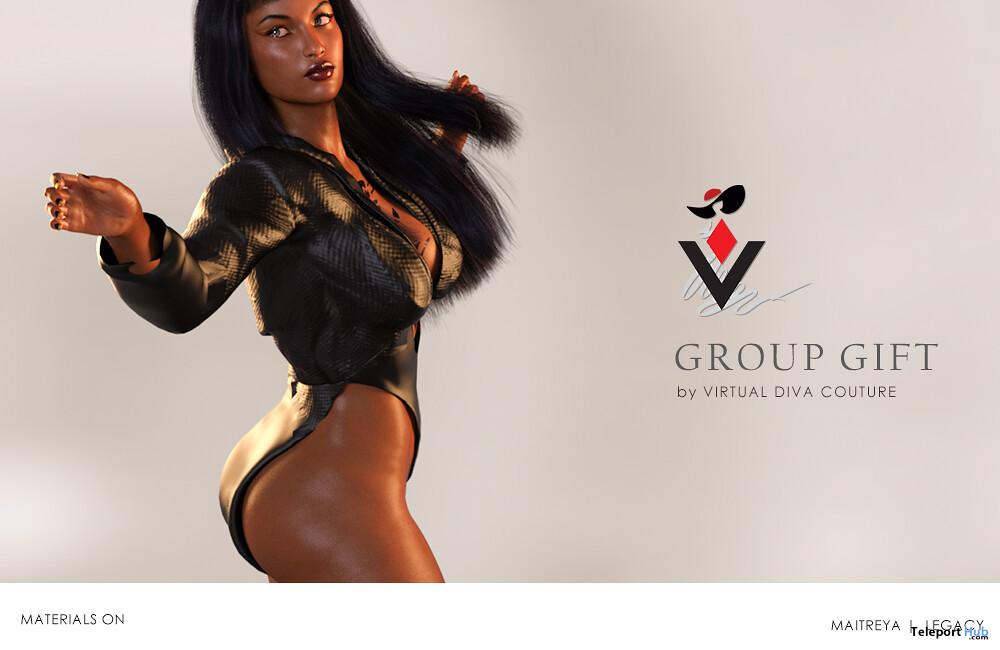 Black Bodysuit January 2020 Group Gift by Virtual Diva Couture - Teleport Hub - teleporthub.com
