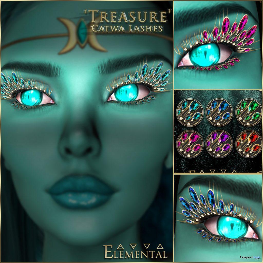 Treasure Lashes For Catwa Mesh Head January 2020 Group Gift by Elemental - Teleport Hub - teleporthub.com