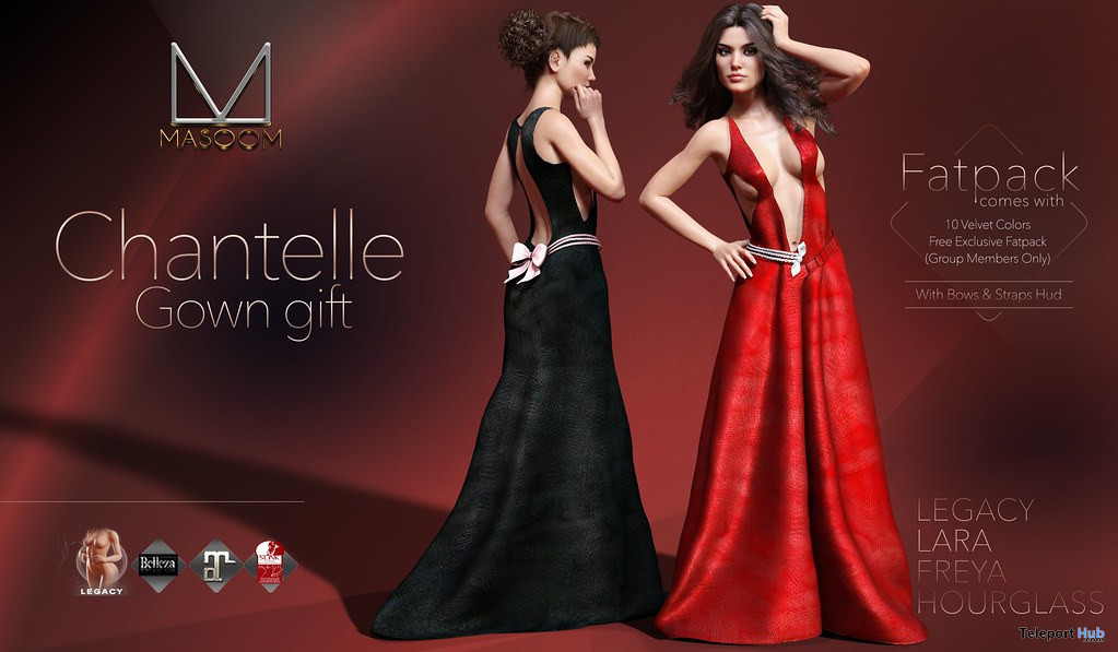 Chantelle Gown Fatpack January 2020 Group Gift by Masoom - Teleport Hub - teleporthub.com