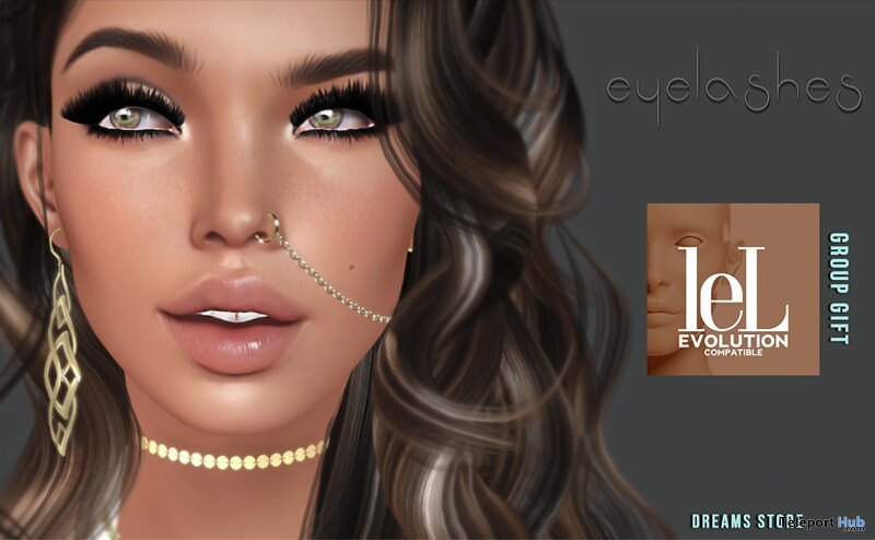 Eyelashes For Lelutka Evolution Mesh Heads January 2020 Group Gift by DREAMS - Teleport Hub - teleporthub.com