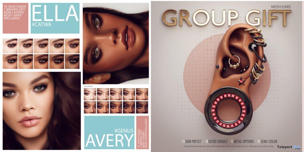 Ella Skin For Catwa, Avery Skin For Genus, & Mesh Ears Fatpack January 2020 Group Gift by PUMEC - Teleport Hub - teleporthub.com