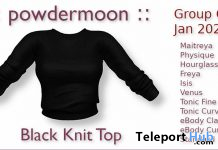 Black Knit Top January 2020 Group Gift by powdermoon - Teleport Hub - teleporthub.com