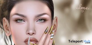 Mesh Stiletto Nails Gold Xmas Group Gift by alme. - Teleport Hub - teleporthub.com