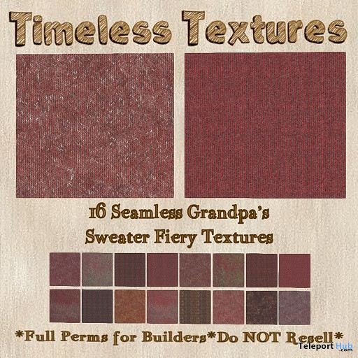 Seamless Grandpa's Sweater Fiery Textures January 2020 Group Gift by Timeless Textures - Teleport Hub - teleporthub.com