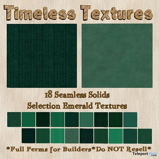 18 Seamless Solids Selection Emerald February 2020 Group Gift by Timeless Textures - Teleport Hub - teleporthub.com
