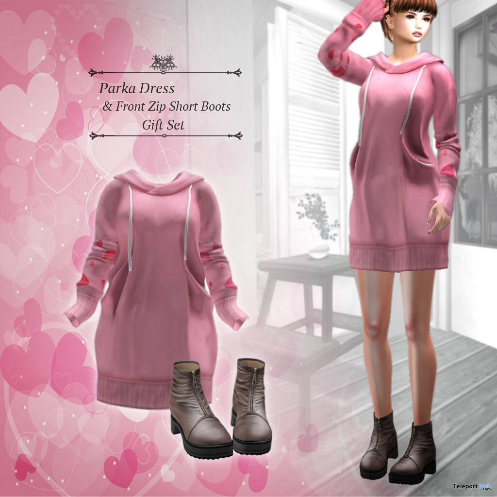 Parka Dress & Front Zip Short Boots February 2020 Group Gift by S@BBiA - Teleport Hub - teleporthub.com