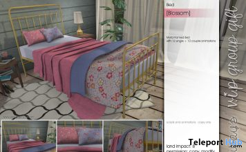 Blossom Bed February 2020 Group Gift by Sway's - Teleport Hub - teleporthub.com