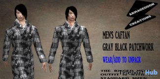 Men's Caftan Gray Black Patchwork February 2020 Group Gift by Armageddon Creations - Teleport Hub - teleporthub.com