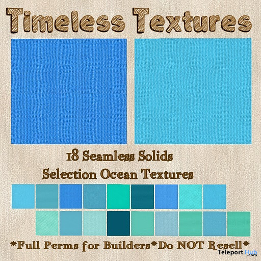 18 Seamless Solids Selection Ocean Textures February 2020 Group Gift by Timeless Textures - Teleport Hub - teleporthub.com